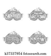 Handdrawn vintage snowboarding quotes