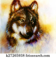 Wolf painting, color background on paper , multicolor illust