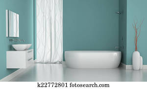 Interior of modern bathroom with blue walls