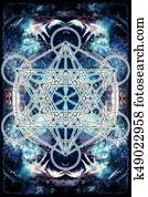 Light merkaba on abstract background. Sacred geometry.