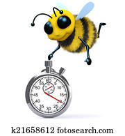 3d Honey bee with a stopwatch