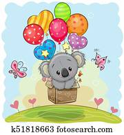 Cute Cartoon Koala with balloons
