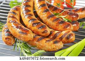Grilled German sausages