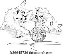 Kittens play with the hank of threads