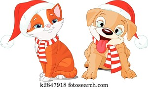 Very merry Puppy and Kitten