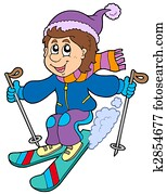 Cartoon skiing boy