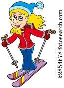 Cartoon skiing woman
