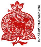 Chinese paper-cut of kirin and peach