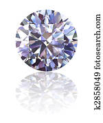 Diamond on glossy white background