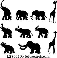 Elephants, mommoth, giraffe
