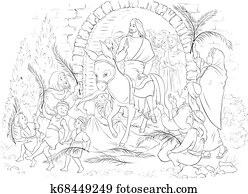 Entry of Our Lord into Jerusalem (Palm Sunday) coloring book. Jesus Christ riding a donkey. Crowds welcome him with palm fronds, spread clothes before him