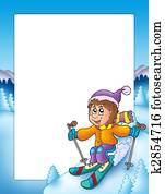 Frame with cartoon skiing boy