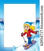 Frame with cartoon skiing woman