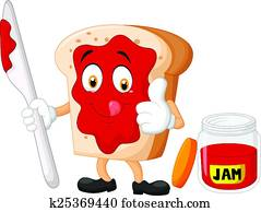 Cartoon slice of bread with jam giv