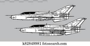 Chengdu FT-7, JJ-7. Outline vector drawing