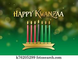 Kwanzaa holiday celebration graphic background in soft glowing festive greens and gold