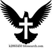 taube, mit, kreuz, symbol, vektor