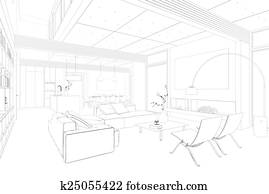 Sketch Of Kitchen With Dining Area