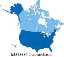 USA and Canada, States and Provinces, Blue Color