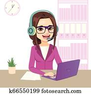 Young Call Center Operator Girl