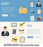 Auditing, Tax process, Accounting Banners