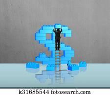 Stock Image of Business man hold 50 Singapore dollar bank