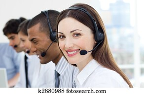 Customer service agents with headset on