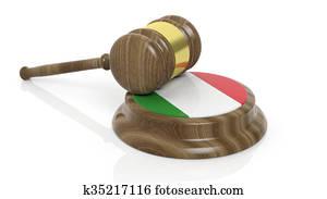 Italian flag and court hammer