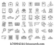 Justice legal icons set, outline style