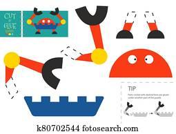 schneiden, und, klebstoff, papier, vektor, toy., lustig, roboter, zeichen, als, a, pappe ausschnitt, modell
