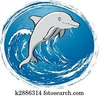 surfen, delfin