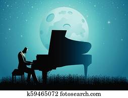 The Pianist During Full Moon