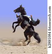 Bucking Rodeo Horse with Rider