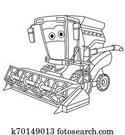 coloring page with harvester combine