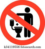 No littering in toilet sign