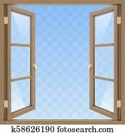 fenêtre ouverte marron
