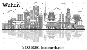 Outline Wuhan China City Skyline with Modern Buildings and Reflections Isolated on White.