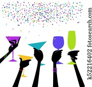 Stylish Women's Hands Raising Glasses in a Toast