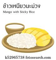 Thai food vector on white background with thai alphabet meaning mango with sticky rice