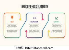 three steps modern infographic design template