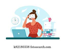 Unhappy woman at work, professional burnout. Sad girl holds a painted smile. The concept of depression, workload, career growth. Flat vector illustration.