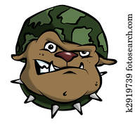 Cartoon Army Bulldog
