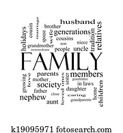Family Word Cloud Concept in black and white