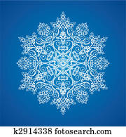 Single detailed snowflake