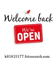 Welcome Back. We Are Open Sign Vector Illustration