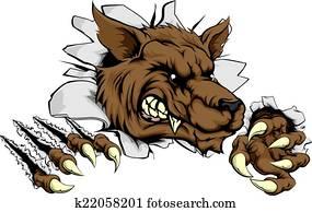 Werewolf or wolf clawing through