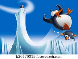 Funny penguins on ice slide