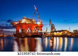 Shipyard at night