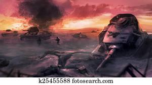 Tank war battle scene