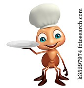 Ant cartoon character with chef hat and dinner plate